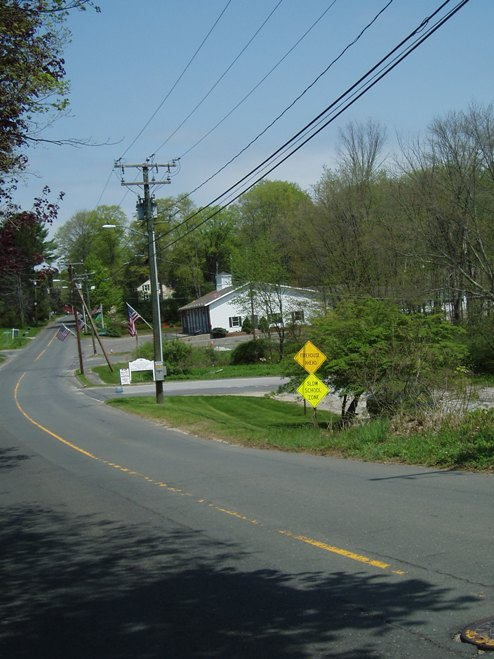 Approaching the Sandy Hook firehouse