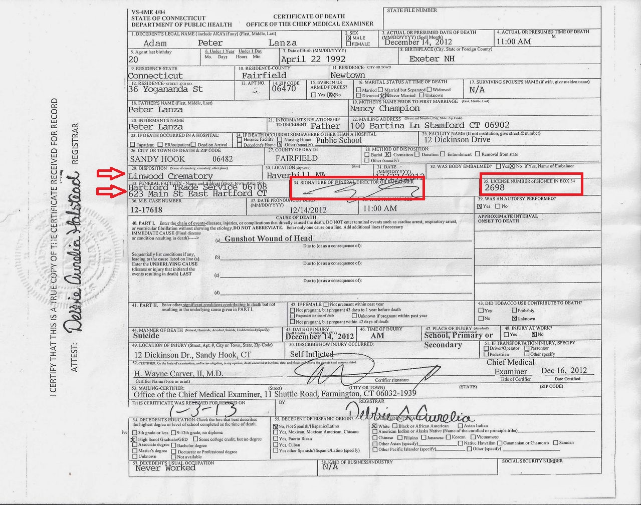 Unlicensed Funeral Home and Adam Lanza