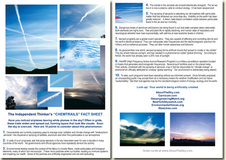 Chemtrails Fact Sheet card