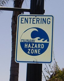 Tsunami sign close-up